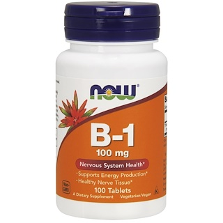 Now Foods, B-1, 100 mg, 100 Tablets