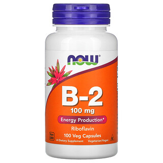 Now Foods, B-2, 100 mg, 100 Veg Capsules