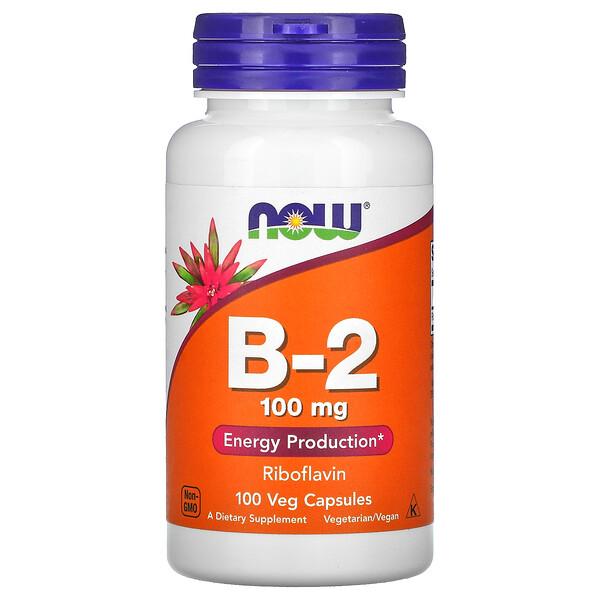 Now Foods, витаминB-2, 100мг, 100вегетарианских капсул