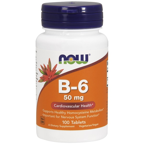 Now Foods, B-6, 50 mg, 100錠
