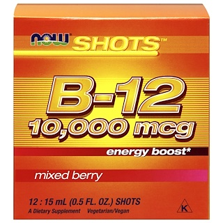 Now Foods, Shots, B-12, Mixed Berry , 10,000 mcg, 12 Shots, 0.5 fl oz (15 ml) Each