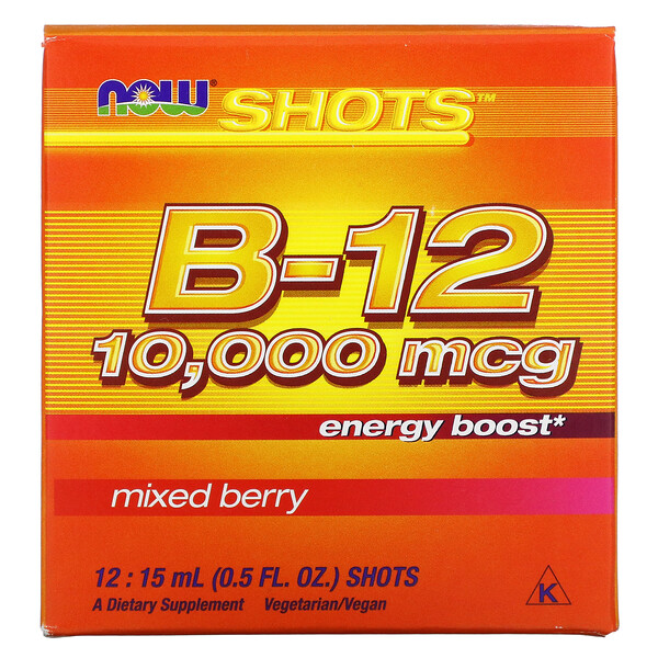 Shots, Suplemento de aumento de energía con vitaminaB12, Bayas mixtas, 1000mcg, 12dosis líquidas, 15ml (0,5oz.líq.) cada una