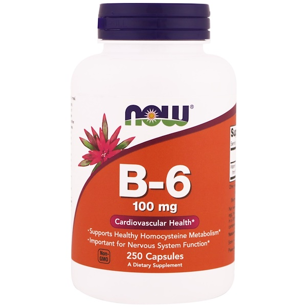 Now Foods, B-6, 100 mg, 250 Cápsulas