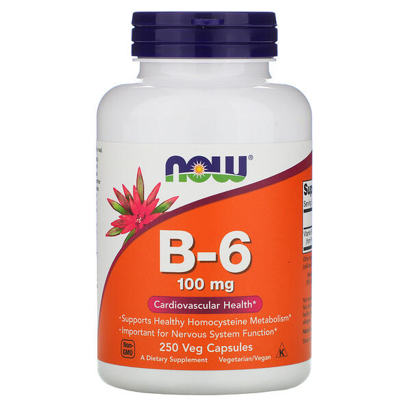 Now Foods, B-6, 100 mg, 250 Veg Capsules