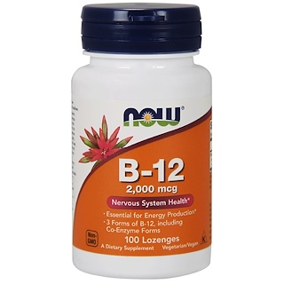 Now Foods, B-12, 2,000 mcg, 100 Lozenges