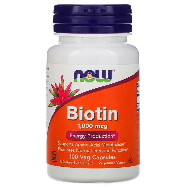 Biotin, 1,000 mcg, 100 Veg Capsules