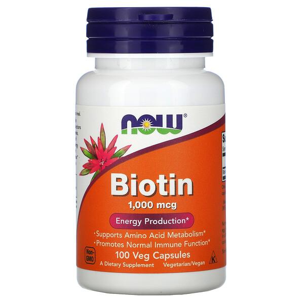 Now Foods, Biotin, 1,000 mcg, 100 Veg Capsules