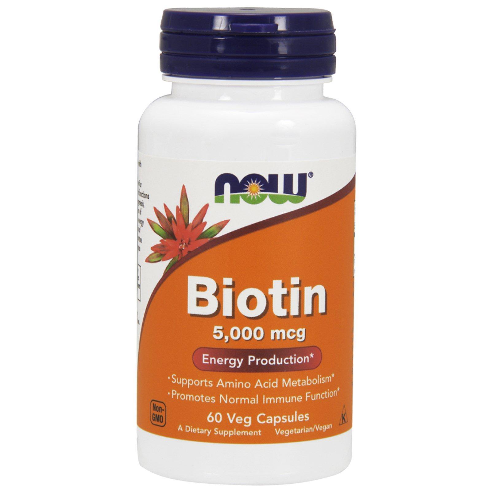 Now Foods, Биотин, 5 000 мкг, 60 веганских капсул