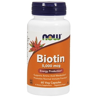 Now Foods, Biotina, 5.000 mcg, 60 Cápsulas Vegetais