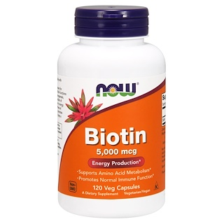 Now Foods, Biotina, 5,000 mcg, 120 Cápsulas Vegetais