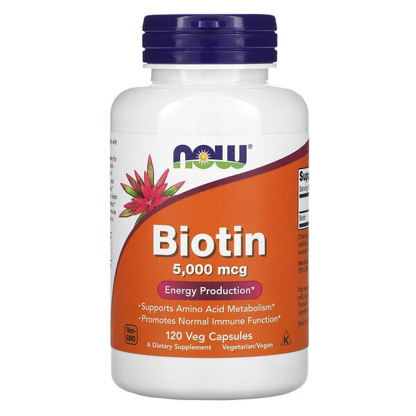 Biotin, 5,000 mcg, 120 Veg Capsules