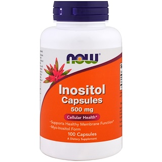 Now Foods, Cápsulas de Inositol, 500 mg, 100 Cápsulas