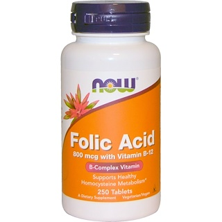 Now Foods, Acide folique avec Vitamine B12, 800 mcg, 250 Tablettes