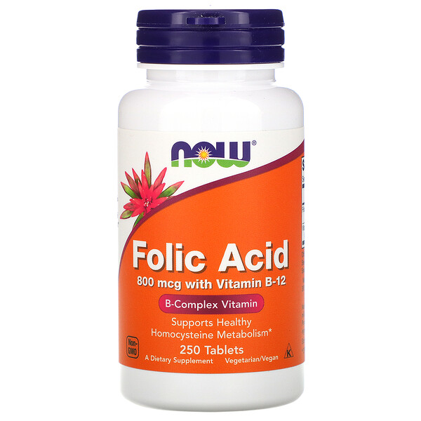 Now Foods, Folic Acid, 800 mcg, 250 Tablets