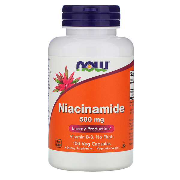 Now Foods, Niacinamida, 500 mg, 100 Cápsulas Vegetais