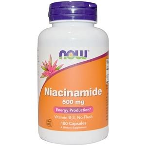 Now Foods, Ниацинамид, 500 мг, 100 капсул инструкция, применение, состав, противопоказания