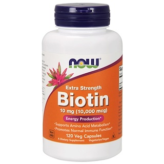 Now Foods, Biotin, Extra Strength, 10 mg (10,000 mcg), 120 Veg Capsules