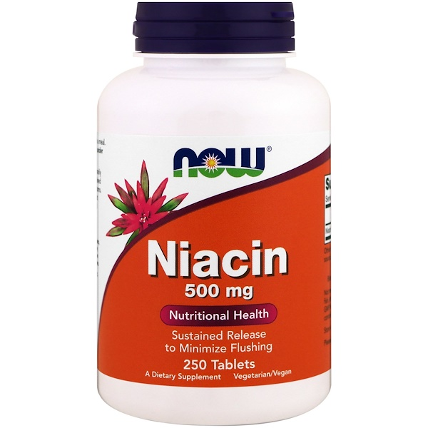 Now Foods, Niacin, 500 mg, 250 Tablets