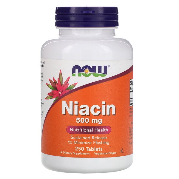 Now Foods, Niacina, 500 mg, 250 comprimidos