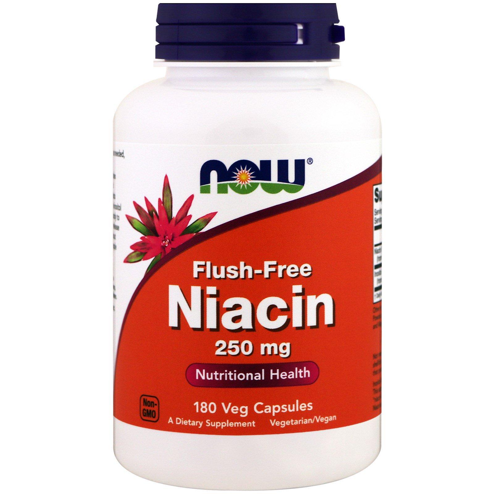 Now Foods, Не вызывающий покраснения ниацин, 250 мг, 180 растительных капсул