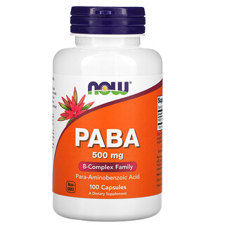 Now Foods, PABA, 500 mg, 100 Capsules