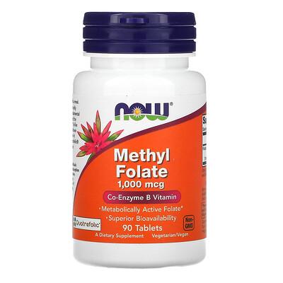 Now Foods метилфолат, 1000мкг, 90таблеток