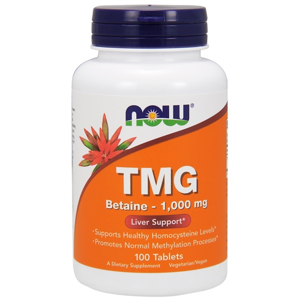 Now Foods, TMG (Trimetilglicina), 1,000 mg, 100 pastillas