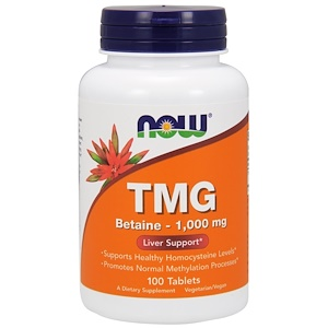 Now Foods, Триметилглицин, 1 000 мг, 100 таблеток инструкция, применение, состав, противопоказания