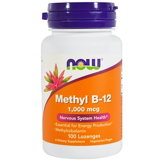 Now Foods, Methyl B-12、1,000 mcg、トローチ 100粒