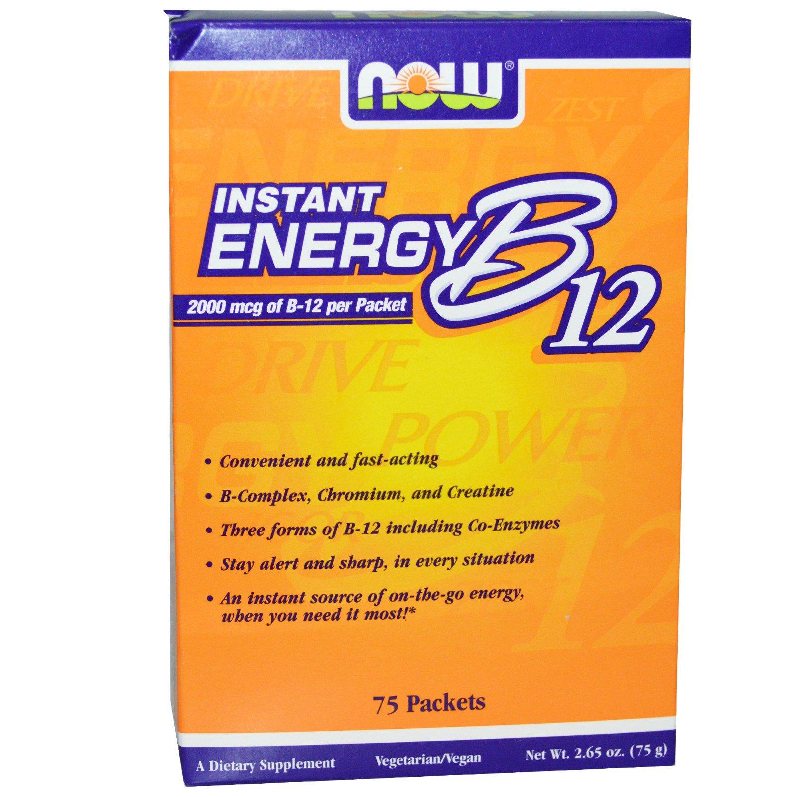 Now Foods, Мгновенная энергия B12, 2000 мкг, 75 пакетиков, (1 г) каждый