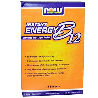 Now Foods, Energia instantêa B12, 2000 mcg, 75 envelopes, 1 g cada