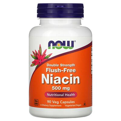 Now Foods Никотиновая кислота без промывки, двойная сила, 500 мг, 90 вегетарианских капсул