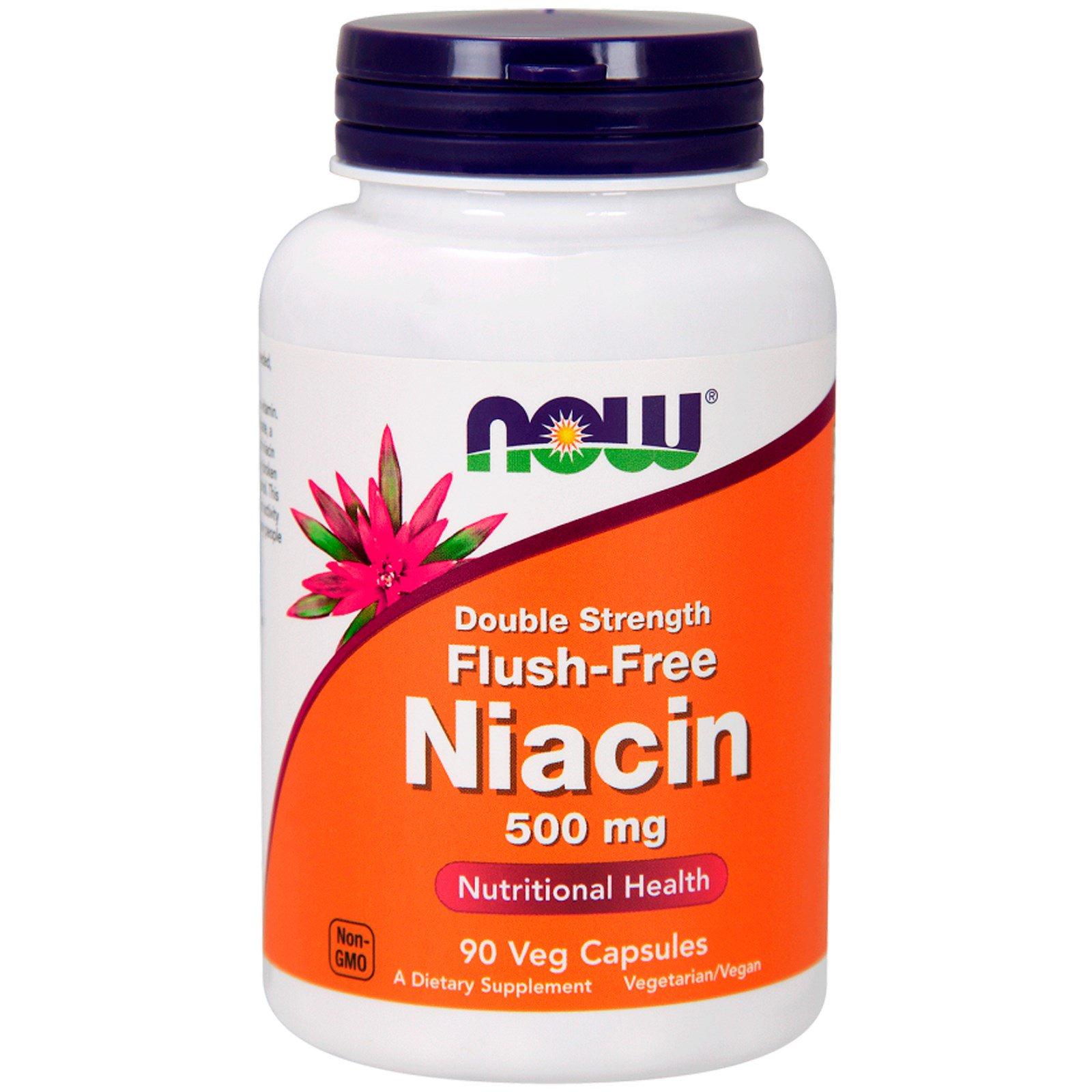 Now Foods, Никотиновая кислота без промывки, двойная сила, 500 мг, 90 вегетарианских капсул