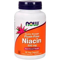 Now Foods, Flush-Free Niacin, Double Strength, 500 mg, 90 Veg Capsules