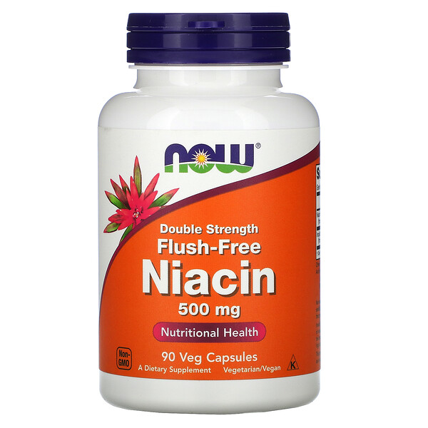 Niacine sans rougissement, double force, 500 mg, 90 gélules végétales