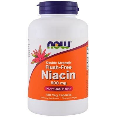 Niacin, Flush-Free, Double Strength, 500 mg, 180 Veg Capsules