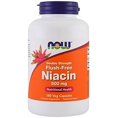 Now Foods, Flush-Free Niacin, Double Strength, 500 mg, 180 Veg Capsules