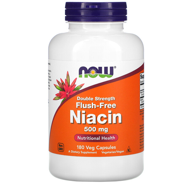 Now Foods, Niacin, Flush-Free, Double Strength, 500 mg, 180 Veg Capsules