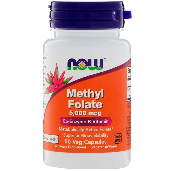 Now Foods, Methyl Folate, 5,000 mcg, 50 Veg Capsules