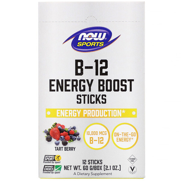Now Foods, Sports, B-12 Sticks Energy Boost à la vitamine B-12, Fruits rouges acidulés, 10 000 µg, 12 sticks, 60 g
