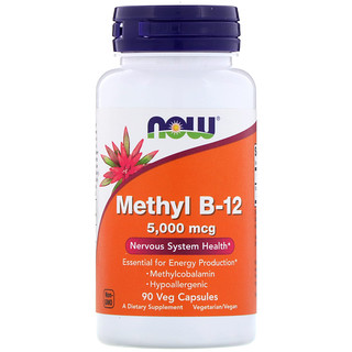 Now Foods, Methyl B-12, 5,000 mcg, 90 Veg Capsules