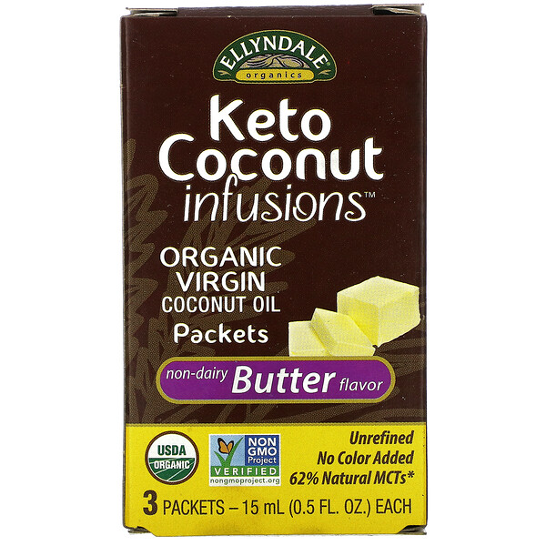 Ellyndale Naturals, Keto Coconut Infusions, Non-Dairy Butter Flavor, 3 Pack, 0.5 fl oz (15 ml) Each