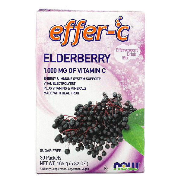 Effer-C, Effervescent Drink Mix, Elderberry, 30 Packets, 5.82 oz (165g)