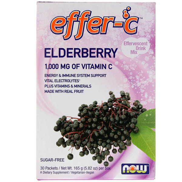 Now Foods, Effer-C, Effervescent Drink Mix, Elderberry, 30 Packets, 5.82 oz (165g)