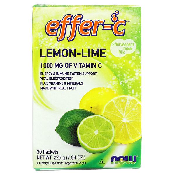 Effer-C, шипучий напиток, лимон-лайм, 30 пакетиков, (7,5 г) каждый