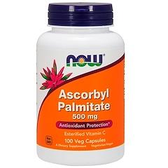Now Foods, Аскорбил пальмитат, 500 мг, 100 капсул в растительной оболочке