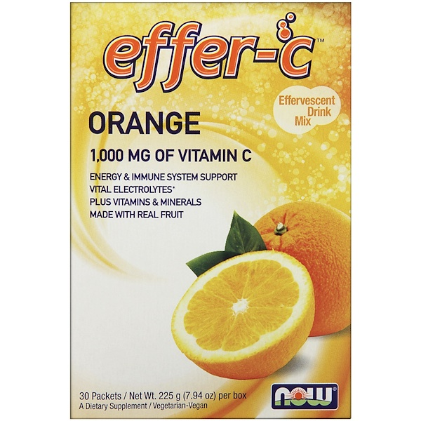 Effer-C, Effervescent Drink Mix, Orange, 30 Packets, 7.5 g Each