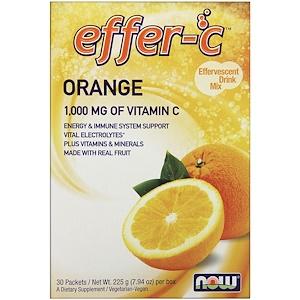 Now Foods, Effer-C, Effervescent Drink Mix, Orange, 30 Packets, 7.5 g Each отзывы покупателей