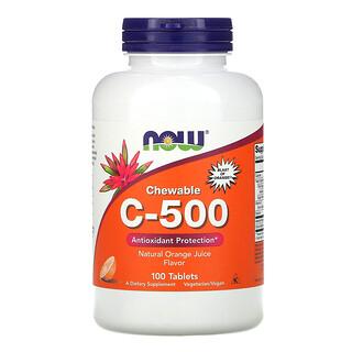 Now Foods, Chewable C-500, Orange Juice Flavor, 100 Tablets