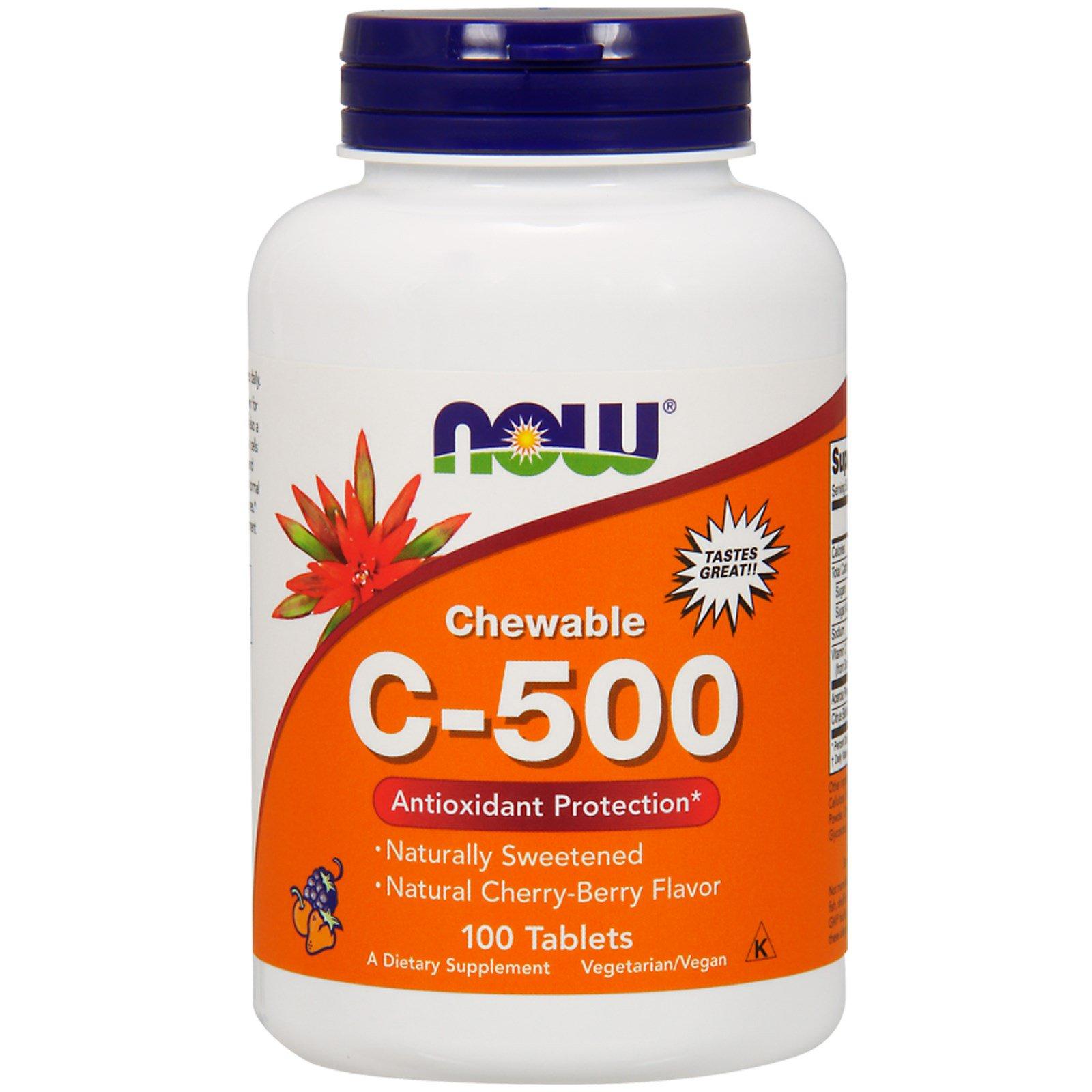 Now Foods, Жевательный витамин C-500, вкус черешни, 100 таблеток